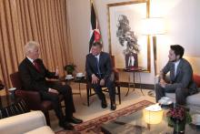 H.R.H. Crown Prince Al Hussein bin Abdullah II attending His Majesty King Abdullah II ibn Al Hussein Meeting with former US President Mr. Bill Clinton