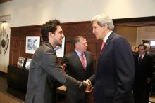 H.R.H. Crown Prince Al Hussein bin Abdullah II speaks to US Secretary of State John Kerry ahead of His Majesty King Abdullah II ibn Al Hussein's meeting with Mr.Kerry