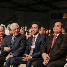 سمو الأمير الحسين بن عبدالله الثاني، ولي العهد، والرئيس المصري والرئيس الفلسطيني خلال المنتدى الاقتصادي العالمي للشرق الأوسط وشمال أفريقيا ـ أيار 2015