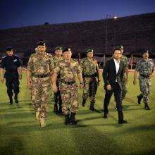 His Majesty King Abdullah II and HRH Crown Prince Al Hussein Bin Abdullah during a visit to the Army and Security Forces
