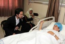 HRH Crown Prince Hussein Bin Abdullah on a visit to Al Hussein Medical City to check on patients from Gaza