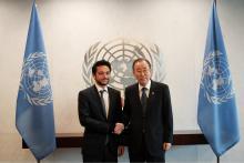 سمو الأمير الحسين بن عبدالله الثاني، ولي العهد، في اجتماع مع الأمين العام للأمم المتحدة بان كي مون ـ نيسان 2015