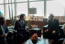 سمو الأمير الحسين بن عبدالله الثاني، ولي العهد، خلال لقاء مع الأمين العام للأمم المتحدة، بان كي مون ـ نيسان 2015