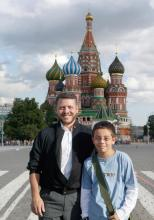 H.R.H. Crown Prince Al Hussein bin Abdullah II with His Majesty King Abdullah II ibn Al Hussein in front of the Kremlin, Moscow, 2005