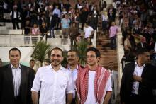 H.R.H. Crown Prince Al Hussein Bin Abdullah II with H.R.H. Prince Ali bin Al Hussein after attending the Jordan vs. Oman football match 18th June, 2013