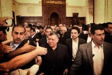 H.R.H. Crown Prince Al Hussein Bin Abdullah II with His Majesty King Abdullah II ibn Al Hussein greeting worshipers after Friday prayers 2013
