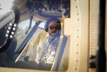 H.R.H Crown Prince Al Hussein Bin Abdullah getting ready for take off on military chopper