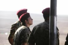HRH Crown Prince Al Hussein Bin Abdullah watching a military exercise
