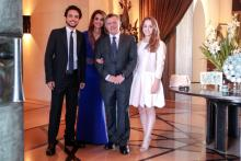 H.R.H. Crown Prince Al Hussein bin Abdullah II with Their Majesties King Abdullah II and Queen Rania Al Abdullah and Princess Iman  bint Abdullah II