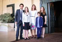 H.R.H. Crown Prince Al Hussein bin Abdullah II with Their Majesties King Abdullah II and Queen Rania Al Abdullah and Princess Iman bint Abdullah II, Princess Salma bint Abdullah II, and Prince Hashem bin Abdullah II