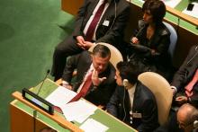 جلالة الملك عبدالله الثاني، وسمو الأمير الحسين، ولي العهد، خلال انقعاد الهيئة العامة للأمم المتحدة - أيلول 2014