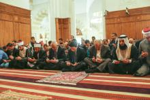 HRH Crown Prince Hussein bin Abdullah, attends Friday prayers at the King Al Hussein Mosque
