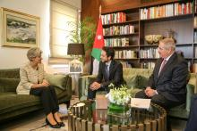 سمو الأمير الحسين بن عبدالله الثاني خلال عدة لقاءات على هامش أعمال المؤتمر العالمي للشباب والأمن والسلام