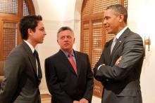 جلالة الملك عبدالله الثاني، يرافقه سمو الأمير الحسين، ولي العهد، يلتقي الرئيس الأمريكي باراك أوباما –  أذار  ٢٠١٣