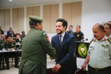 Deputizing for His Majesty King Abdullah Il , HRH Crown Prince Al Hussein Bin Abdullah attended the Royal Jordanian Defense college graduation ceremony.