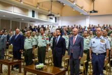 Deputizing for His Majesty King Abdullah Il , HRH Crown Prince Al Hussein Bin Abdullah attended the Royal Jordanian Defense college graduation ceremony