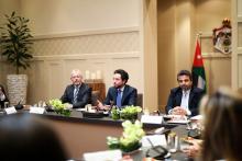 سمو الأمير الحسين بن عبدالله الثاني ولي العهد خلال توقيع اتفاقية بين مؤسسة ولي العهد وشركة إيرباص لتدريب طلبة جامعات أردنيين