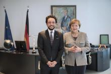 HRH Crown Prince Al Hussein bin Abdullah II with Chancellor Angela Merkel during a visit to Germany - November 2017