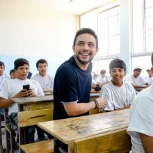 "HRH Crown Prince Al Hussein bin Abdullah II pays a surprise visit to Zayd bin Haritha School in Madaba and checks on activities held as part of national summer programme ""Bassma"""