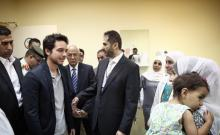 HRH Crown Prince Al Hussein Bin Abdullah on a visit to King Abdullah University Hospital to check on Cochlear implants patients