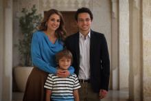 جلالة الملكة رانيا العبدالله وسمو الأمير الحسين بن عبدالله الثاني، ولي العهد، وسمو الأمير هاشم