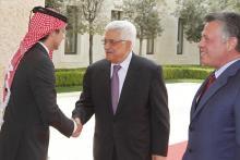 H.R.H. Crown Prince Al Hussein bin Abdullah II with His Majesty King Abdullah II ibn Al Hussein and Palestinian President Mahmoud Abbas, Amman, March 2013