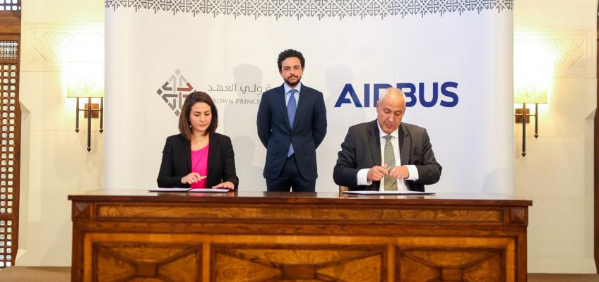 Crown Prince witnesses signing of agreement between CPF, Airbus to train Jordanian university students