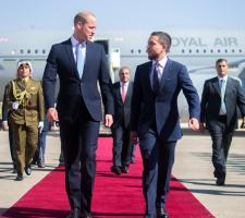 The Regent, His Royal Highness Crown Prince Al Hussein bin Abdullah II, welcomes Prince William, Duke of Cambridge, at Marka Military Airport